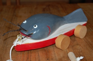 Folk Art Retro style wooden catfish toy