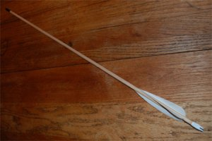 Spiral Fletched Wooden Arrow