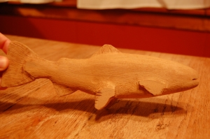 Trout Carving in cedar