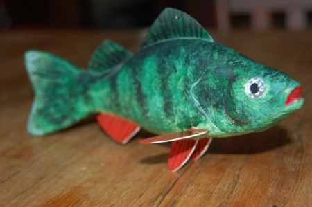 carved wooden fish decoy