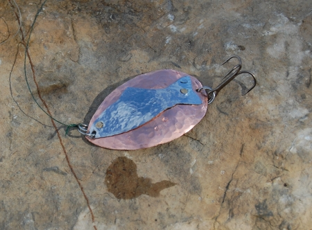 Roycroft style hammered copper spoon lure