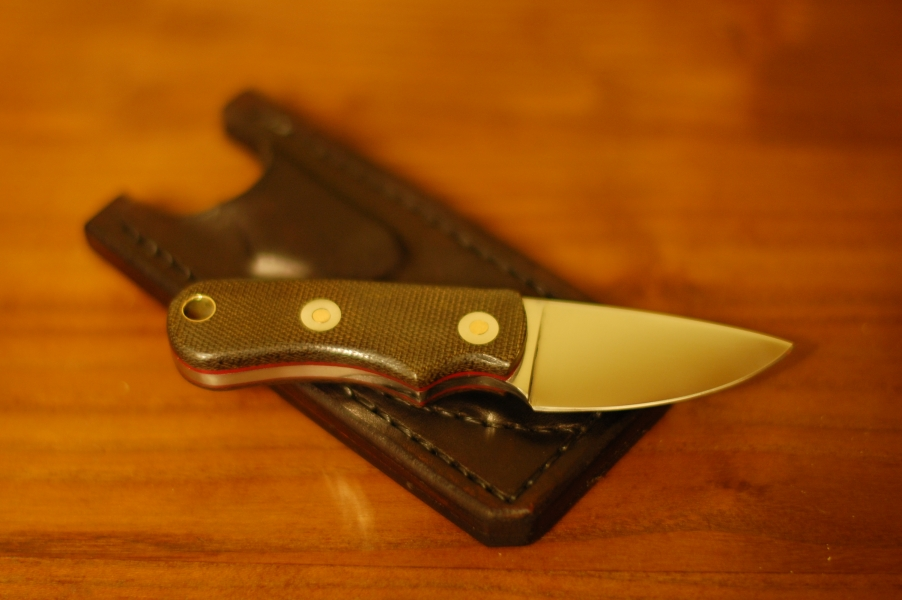 Neck Knife in o1 steel with green micarta and red liners