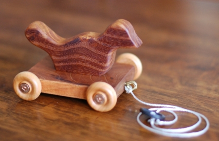 Wooden bird pull toy