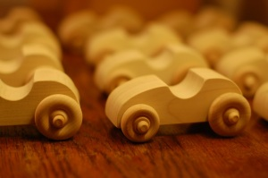 handmade wooden toy cars for birthday party